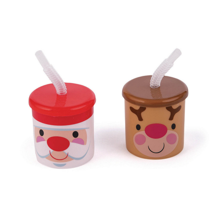 View larger image of Cheery Christmas Plastic Cups With Lids and Straws (12)