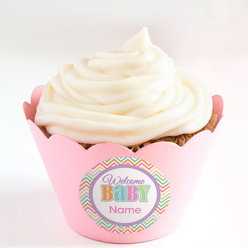 Chevron Stripe Baby Shower Personalized Cupcake Wrappers (Set of 24)