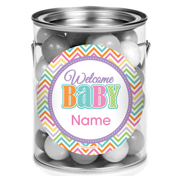 Chevron Stripe Baby Shower Personalized Mini Paint Cans (12 Count)