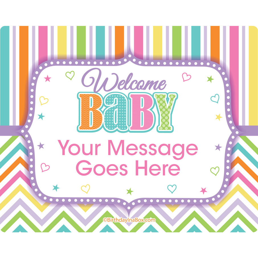 View larger image of Chevron Stripe Baby Shower Personalized Rectangular Stickers (Sheet of 15)