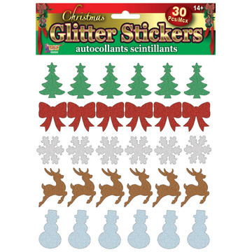 Christmas Icon Glitter Stickers