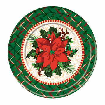 "Christmas Plaid 9"" Plates (8)"