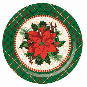 "Christmas Plaid 7"" Plates (8)"