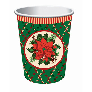 Christmas Plaid 9oz Paper Cups (8)