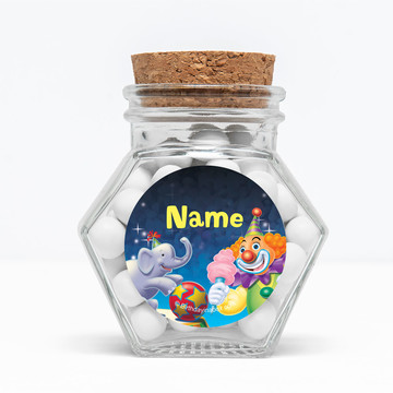 "Circus Party Personalized 3"" Glass Hexagon Jars (Set of 12)"