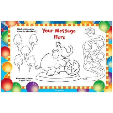 Circus Party Personalized Activity Mats (8-Pack)