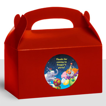 Circus Party Personalized Treat Favor Boxes (12 Count)