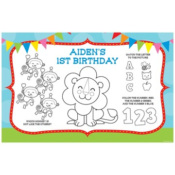 Circus Personalized Activity Mats (8-Pack)