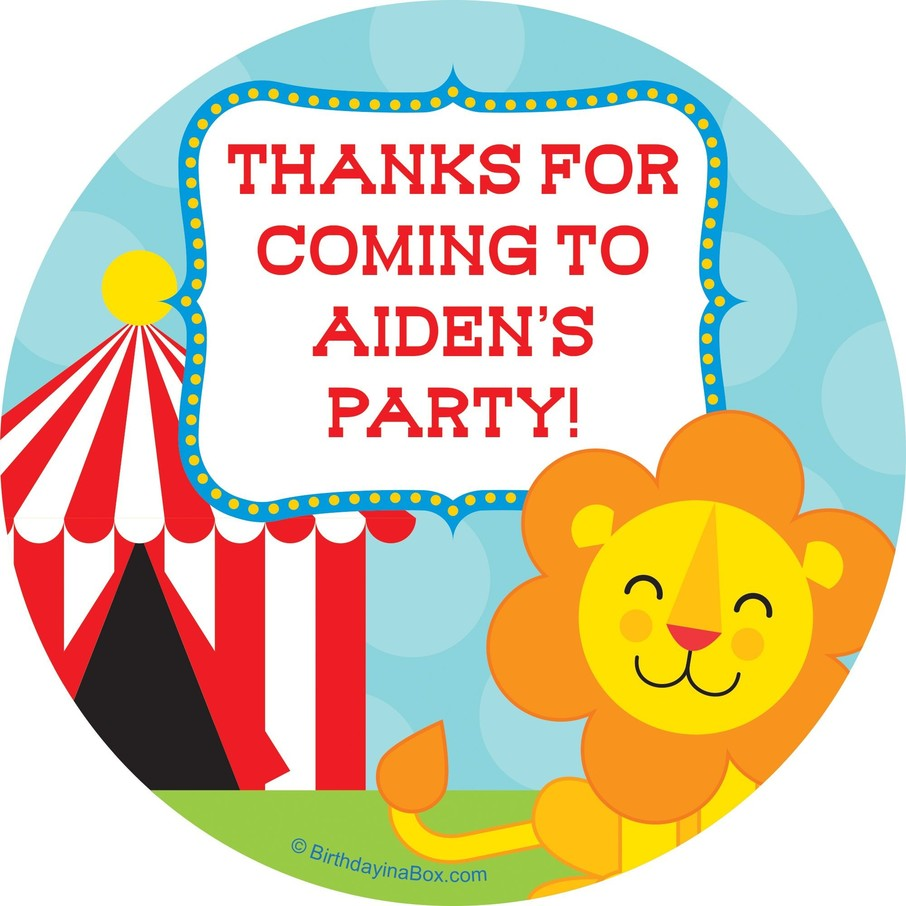 View larger image of Circus Personalized Stickers (12 Pack)