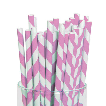 Classic Pink and White Striped Paper Straws (48)