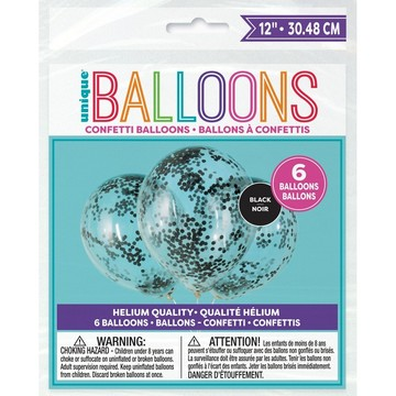 "Clear Latex Balloons with Black Confetti 12"", 6ct - Pre-Filled"