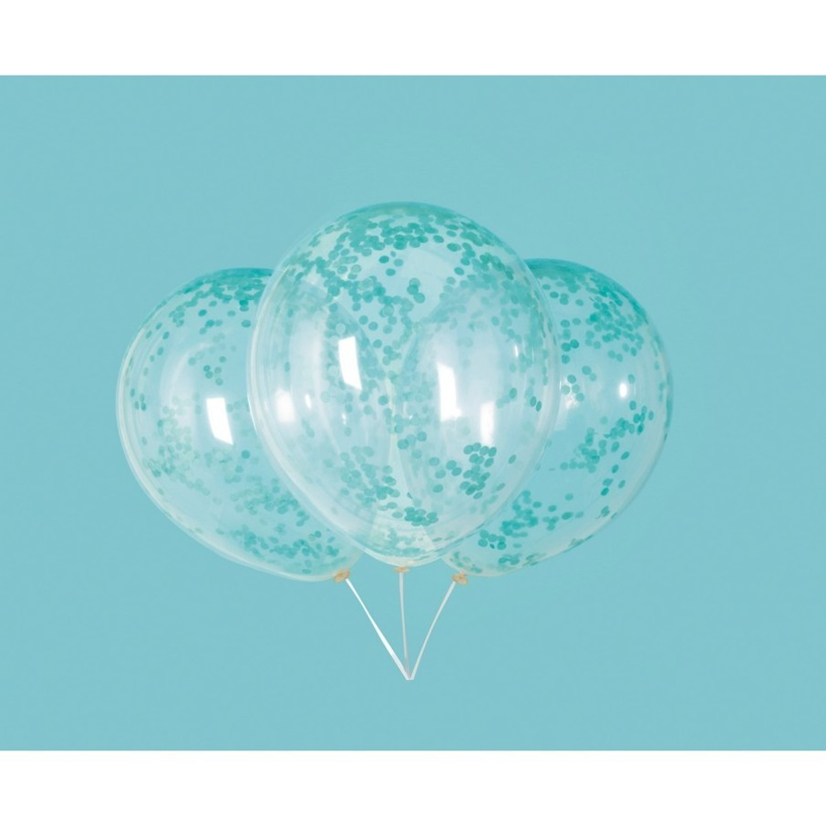 """View larger image of Clear Latex Balloons with Caribbean Teal Confetti 12"""", 6ct - Pre-Filled"""