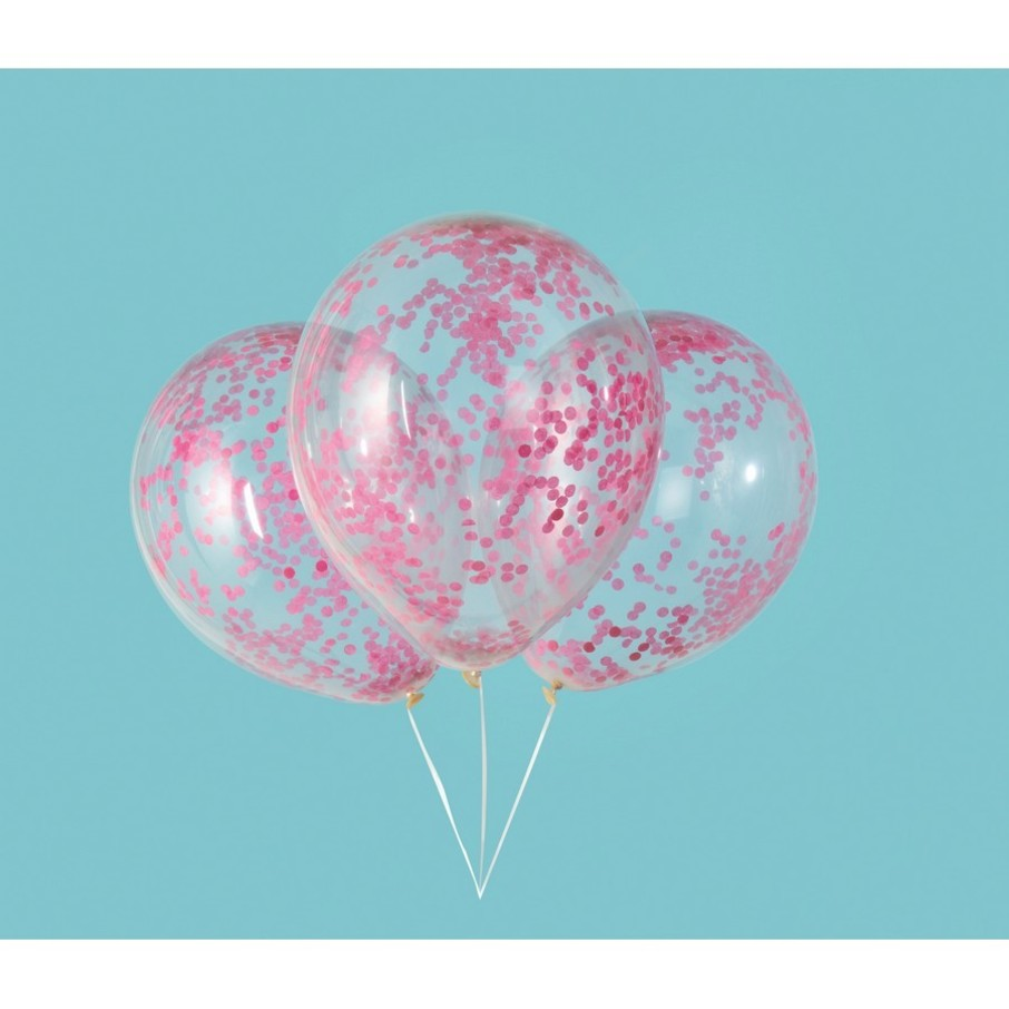 """View larger image of Clear Latex Balloons with Hot Pink Confetti 12"""", 6ct - Pre-Filled"""