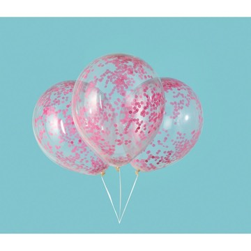"Clear Latex Balloons with Hot Pink Confetti 12"", 6ct - Pre-Filled"