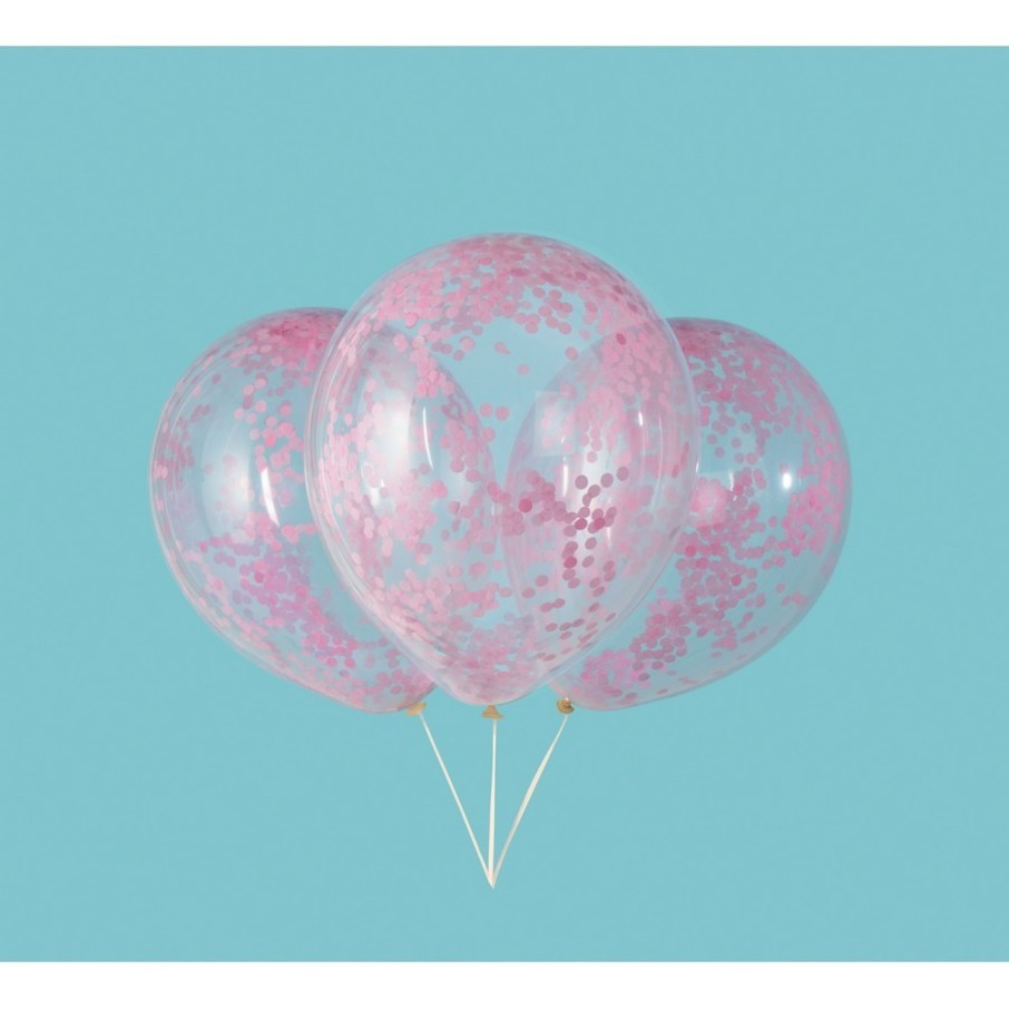 "View larger image of Clear Latex Balloons with Lovely Pink Confetti 12"", 6ct - Pre-Filled"