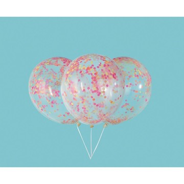 "Clear Latex Balloons with Neon Confetti 12"", 6ct - Pre-Filled"