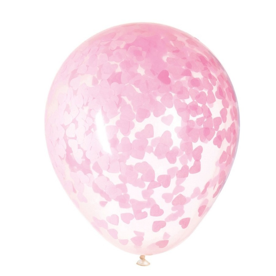 """View larger image of Clear Latex Balloons with Pink Heart Confetti 16"""", 5ct - Pre-Filled"""
