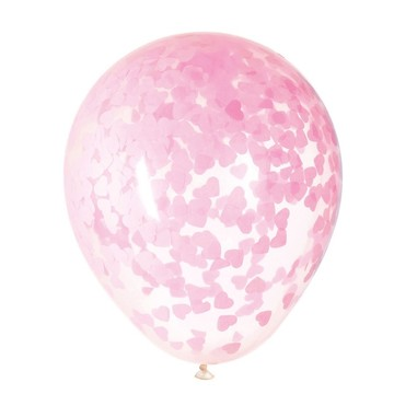 "Clear Latex Balloons with Pink Heart Confetti 16"", 5ct - Pre-Filled"