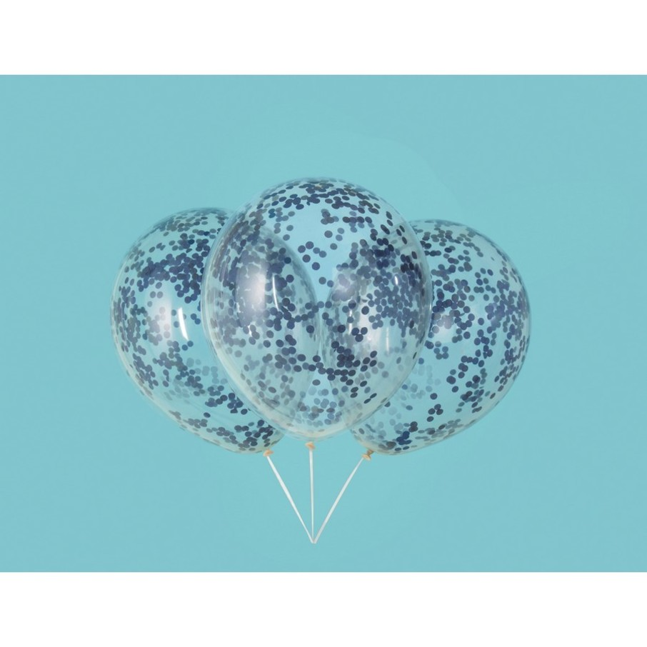 "View larger image of Clear Latex Balloons with Royal Blue Confetti 12"", 6ct - Pre-Filled"