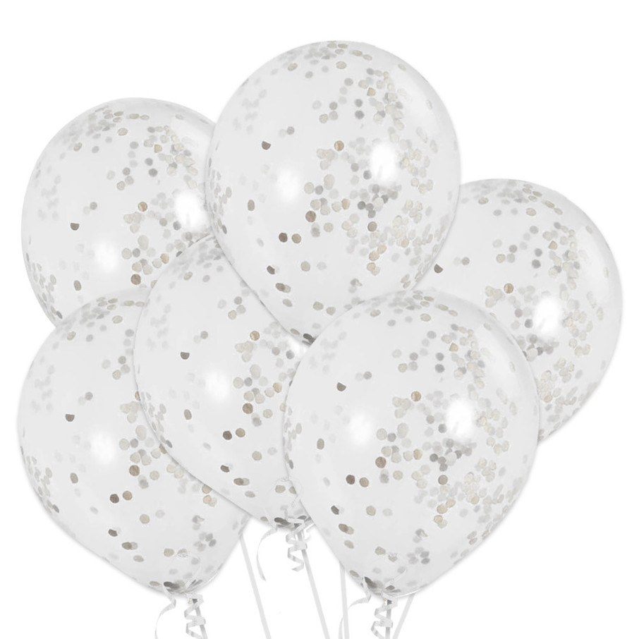 View larger image of Clear Latex Balloons With Silver Confetti (6 Count)