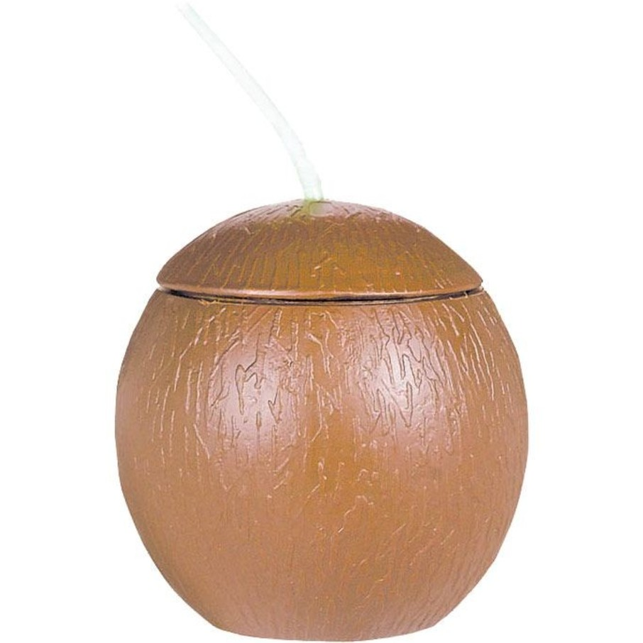 View larger image of Coconut Shaped Cup W/ Straw 18oz (Each)