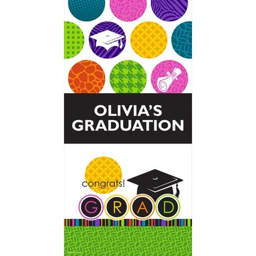 """Colorful Commencement Personalized Giant Banner 30x60"""" (Each)"""