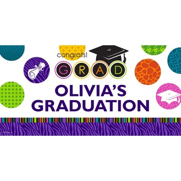 """Colorful Commencement Personalized Giant Banner 60x30"""" (Each)"""
