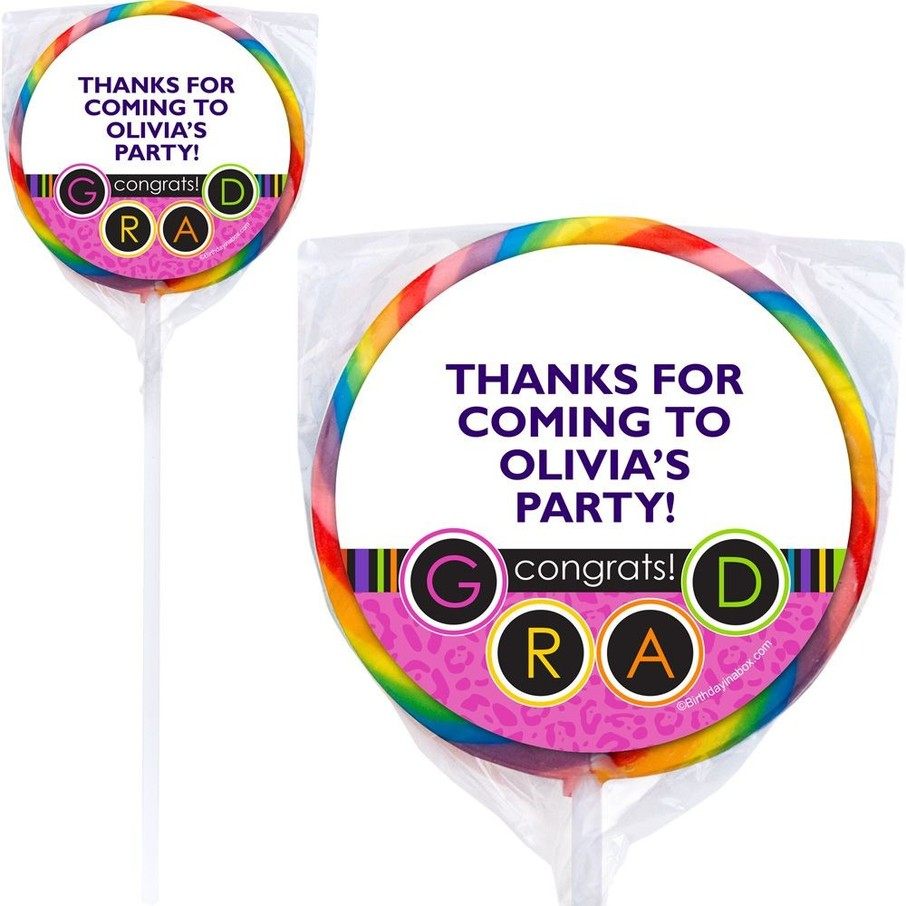 View larger image of Colorful Graduation Personalized Lollipops (12 Pack)