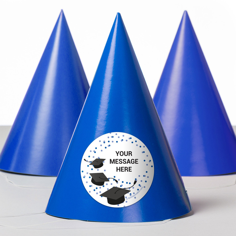 View larger image of Confetti Grad Blue Personalized Party Hats (8 Count)