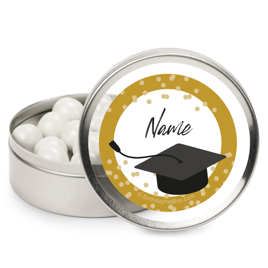 View larger image of Confetti Grad Gold Personalized Mint Tins (12 Pack)