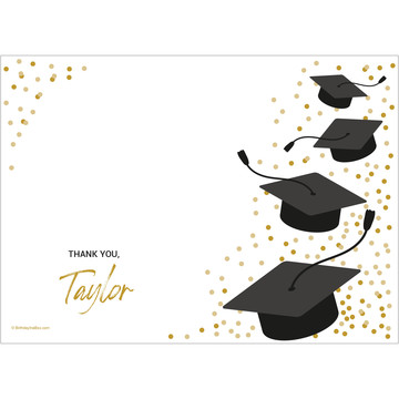 Confetti Grad Gold Personalized Thank You (Each)