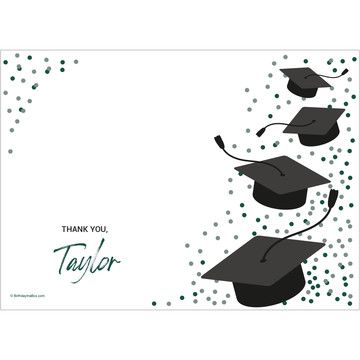 Confetti Grad Green Personalized Thank You (Each)