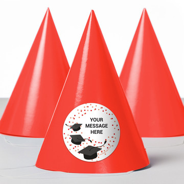 Confetti Grad Red Personalized Party Hats (8 Count)