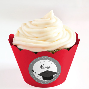 Confetti Grad Silver Personalized Cupcake Wrappers (Set of 24)
