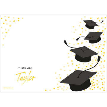 Confetti Grad Yellow Personalized Thank You (Each)