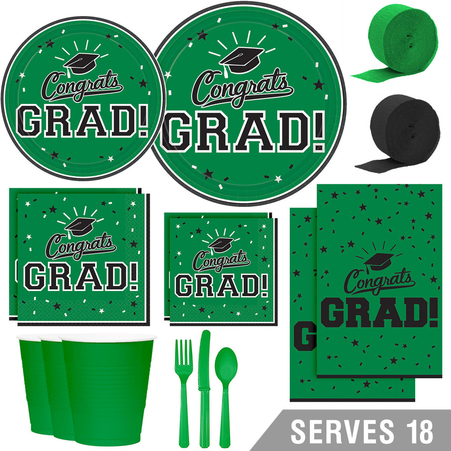 View larger image of Congrats Grad Green Deluxe Tableware Kit (Serves 18)