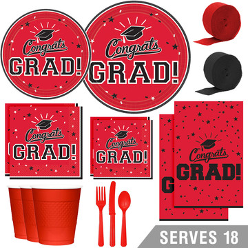 Congrats Grad Red Deluxe Tableware Kit (Serves 18)