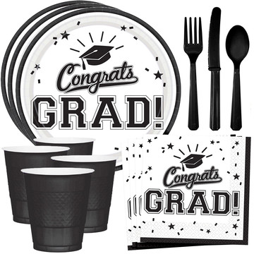 Congrats Grad White Standard Tableware Kit (Serves 18)