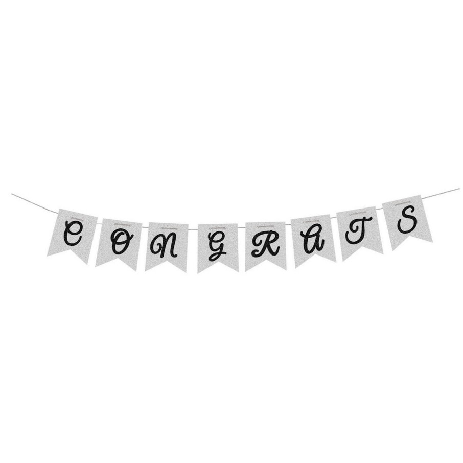 View larger image of Congrats Silver Bunting Flag Banner