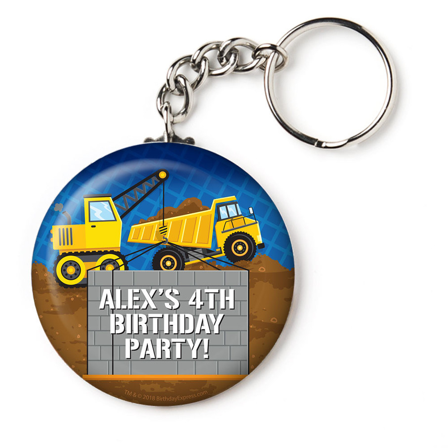 """View larger image of Construction Party Personalized 2.25"""" Key Chain (Each)"""