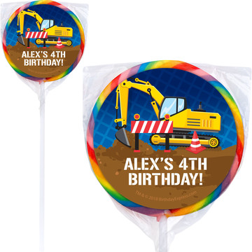 Construction Party Personalized Lollipops (12 Pack)