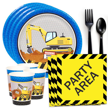 Construction Party Standard Tableware Kit (Serves 8)