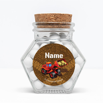 "Construction Personalized 3"" Glass Hexagon Jars (Set of 12)"