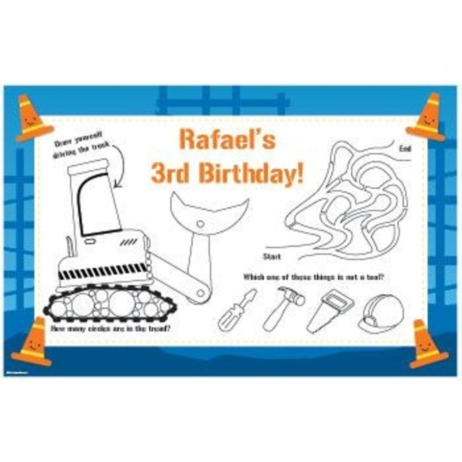View larger image of Construction Personalized Activity Mats (8-pack)