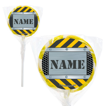 "Construction Zone Personalized 2"" Lollipops (20 Pack)"