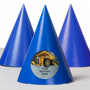 Construction Zone Personalized Party Hats (8 Count)