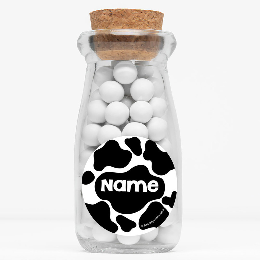 "View larger image of Cow Personalized 4"" Glass Milk Jars (Set of 12)"
