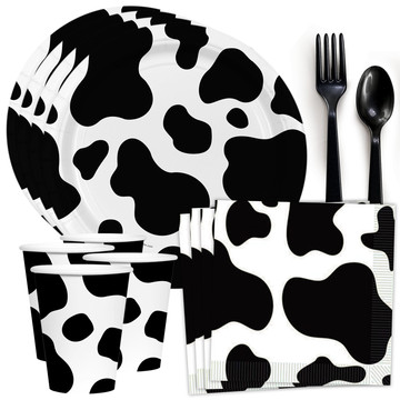 Cow Print Standard Tableware Kit (Serves 8)
