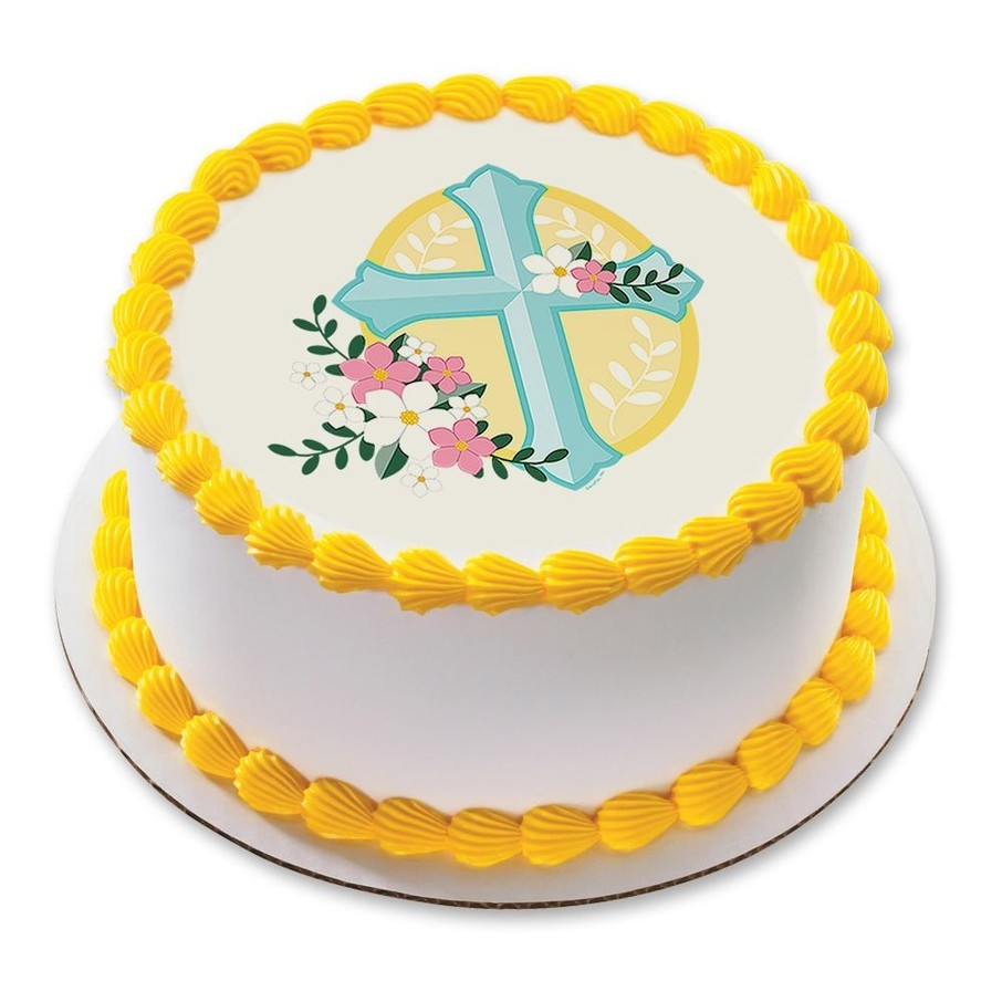 "View larger image of Cross With Flowers 7.5"" Round Edible Cake Topper (Each)"