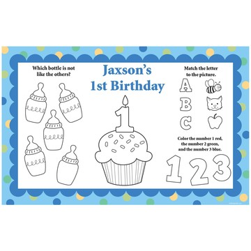 Cupcake 1st Birthday Boy Personalized Activity Mat (8 pack)